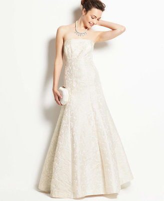 Ann Taylor Petite Jacquard Strapless Wedding Dress