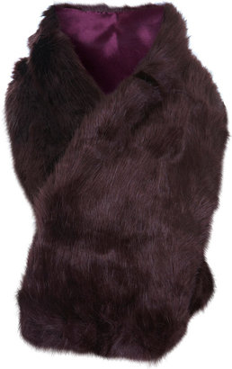 Miss Selfridge Burgundy faux fur stole