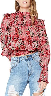 Bardot Remi Floral Frill Tie-Waist Blouse