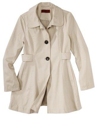 Coffee Shop Petites Outerwear Long-Sleeve Trench Jacket - Khaki