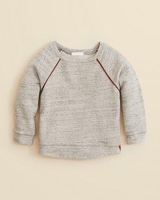 Chloé Girls' Faux Leather Piped Raglan Fleece Sweatshirt - Sizes 8-14