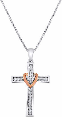 FINE JEWELRY 1/10 CT. T.W. Diamond Heart Cross Pendant Necklace