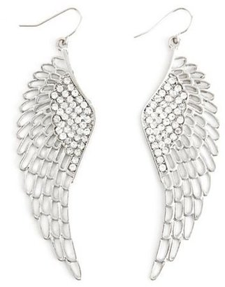 Charlotte Russe Rhinestone Angel Wing Earrings