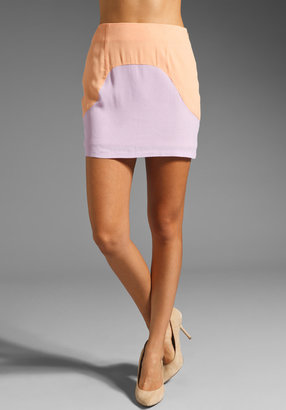 Finders Keepers Talk This Over Mini Skirt in Lilac/Apricot