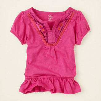 Children's Place Embroidered sequin peasant top