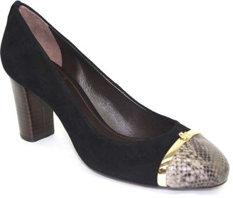 "Tory Burch Pacey"" Black Leather and Snake Toe Pump"