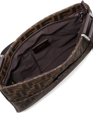 Fendi Small Men's Zucca-Print Messenger Bag, Tobacco