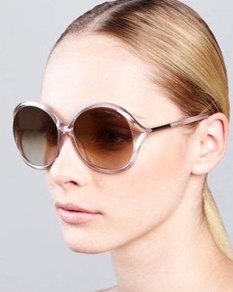 Tom Ford Rhi Glitter Oversized Open-Temple Sunglasses