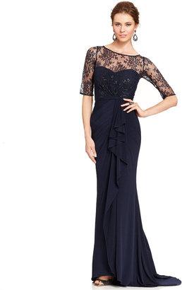 JS Boutique Illusion Lace Draped Gown