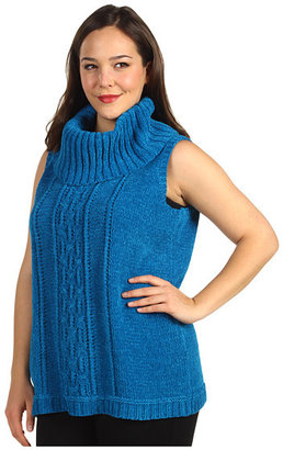 Klein Plus Anne Plus Size Sleeveless Cowl Neck Cable Pullover