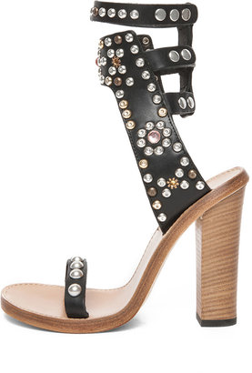 Isabel Marant Charlotte Strassed and Studded Sandals in Black