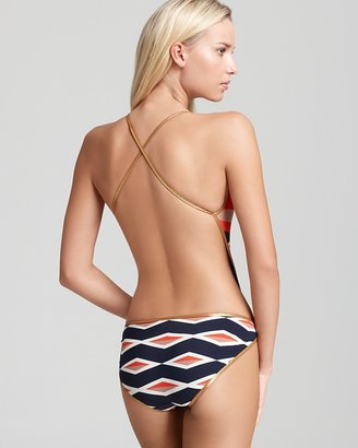Marc by Marc Jacobs Hayley Stripe Bound Cut Out Maillot One Piece Swimsuit