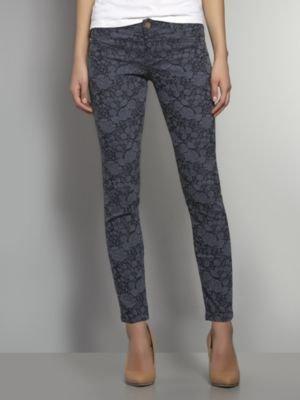 New York & Co. Floral-Embossed Denim Ankle Legging