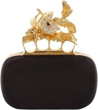 Alexander McQueen Black Satin Apple & Hummingbird Skull Knucklebox Clutch