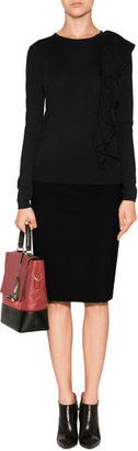 DKNY Stretch Wool Pencil Skirt in Black