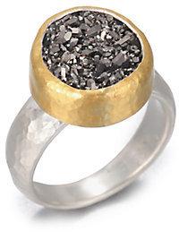 Gurhan Galaxy Black Druzy, 24K Yellow Gold & Sterling Silver Ring