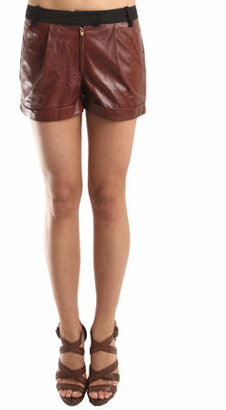 A.L.C. Justina Leather Shorts in Rust