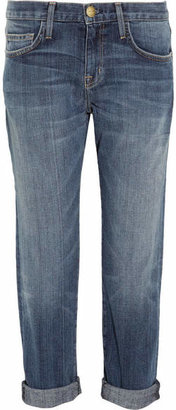 Current/Elliott - The Boyfriend Cropped Mid-rise Jeans - Mid denim $225 thestylecure.com