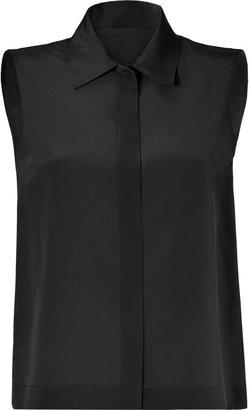 Moschino Black Sleeveless Silk Top