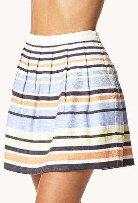 LOVE21 LOVE 21 Essential Textured Woven Striped Skirt