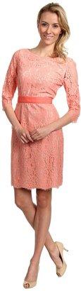 Eliza J Three-Quarter Sleeve Lace Dress (Coral) - Apparel