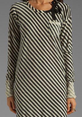 Sonia Rykiel SONIA by Striped Shirt Dress in White/Black