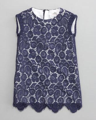 Milly Minis Makayla Begonia Scallop Dress, Sizes 2-6