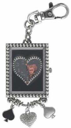 Alice in Wonderland Women's AL4022 Red Queen Heart Mirror Dial Key Chain Charm Watch $4.99 thestylecure.com