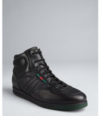 Gucci black leather and nylon hi-top sneakers