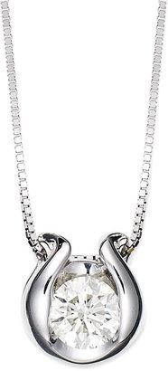 Sirena Bezel-Set Diamond Pendant Necklace in 14k White Gold (1/3 ct. t.w.)