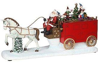 JCPenney LED Christmas Music Box w Santa on Wagon