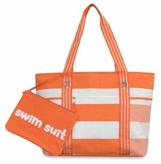 Cabana Striped Beach Tote with Wet Suit Pouch in Orange $19.99 thestylecure.com