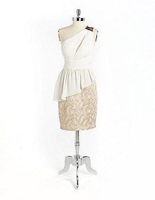 Aidan Mattox NITELINE Sequined One-Shoulder Peplum Dress