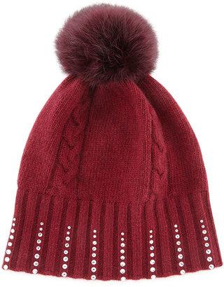 Portolano Winter Hat with Crystals & Fur Pompom, Bordeaux