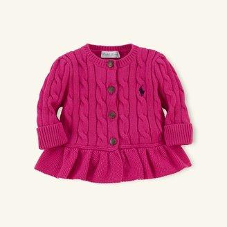 Peplum Cable-Knit Cardigan