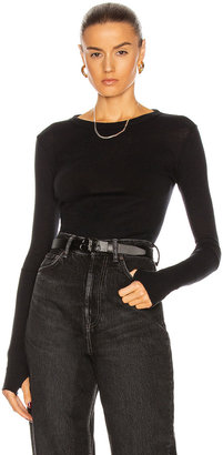 Enza Costa Cuffed Crew Cashmere-Blend Sweater in Black | FWRD