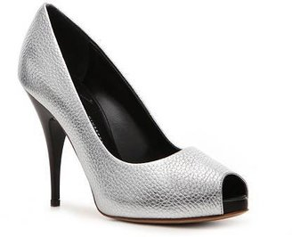 Giuseppe Zanotti Metallic Reptile Leather Peep Toe Pump