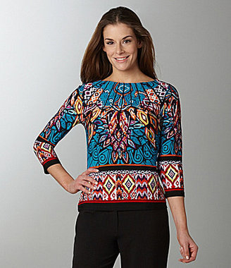Investments Printed Boatneck Top