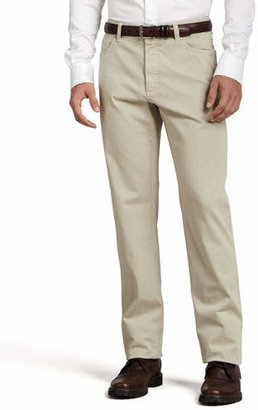 Ermenegildo Zegna Five-Pocket Brushed Cotton Pants, Plaster $345 thestylecure.com
