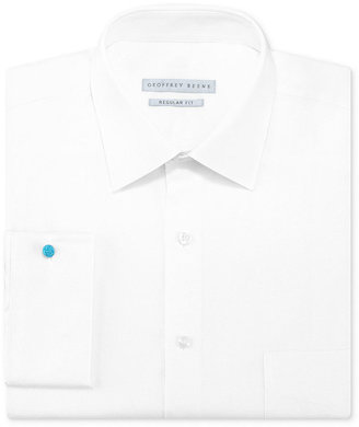 Geoffrey Beene Dress Shirt, White Texture Long-Sleeved Shirt with French Cuff