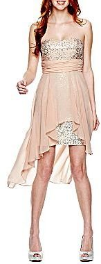 JCPenney Sheer Sequin High-Low Sweetheart Dress