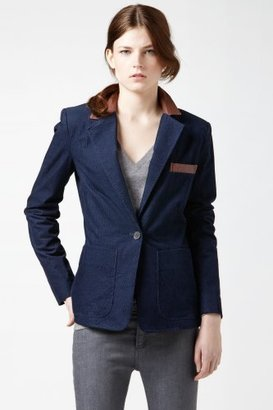 Lacoste Corduroy Blazer With Leather Collar And Elbow Patches