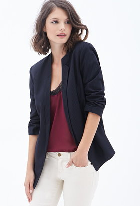 Forever 21 Contemporary Pinstriped Open-Front Blazer