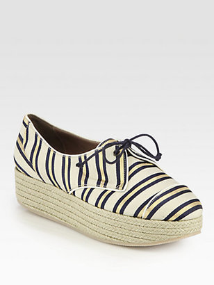Tabitha Simmons Florence Striped Canvas Lace-Up Wedge