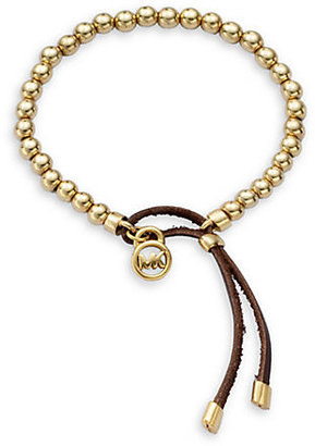 Michael Kors Leather Cord Beaded Bracelet/Goldtone