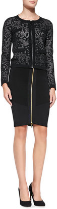 Milly Stretch Zip Pencil Skirt
