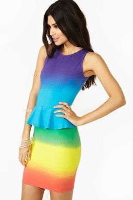 Nasty Gal Rainbow Peplum Dress