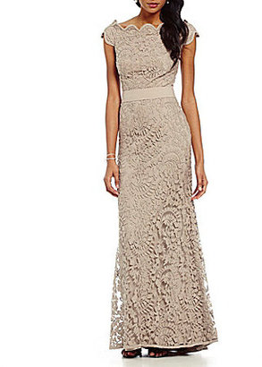 Tadashi Shoji Lace Off-the-Shoulder Gown $398 thestylecure.com