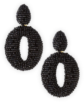 Oscar de la Renta Oscar O Clip Beaded Earrings, Black