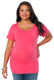 Motherhood Web Only Plus Size Short Sleeve Scoop Neck Side Ruched Maternity T Shirt